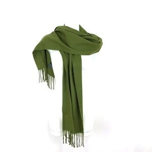 Cejon Made in Italy olive green scarf long fringe
